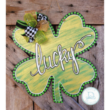 Load image into Gallery viewer, Clover/Shamrock with Gold Distressing