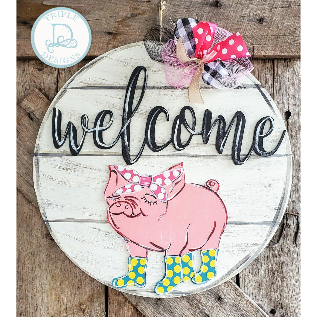 3d pig with welcome