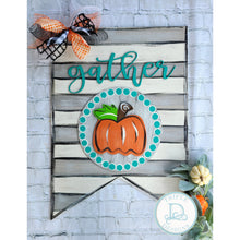 Load image into Gallery viewer, Stripe pennant with pumpkin