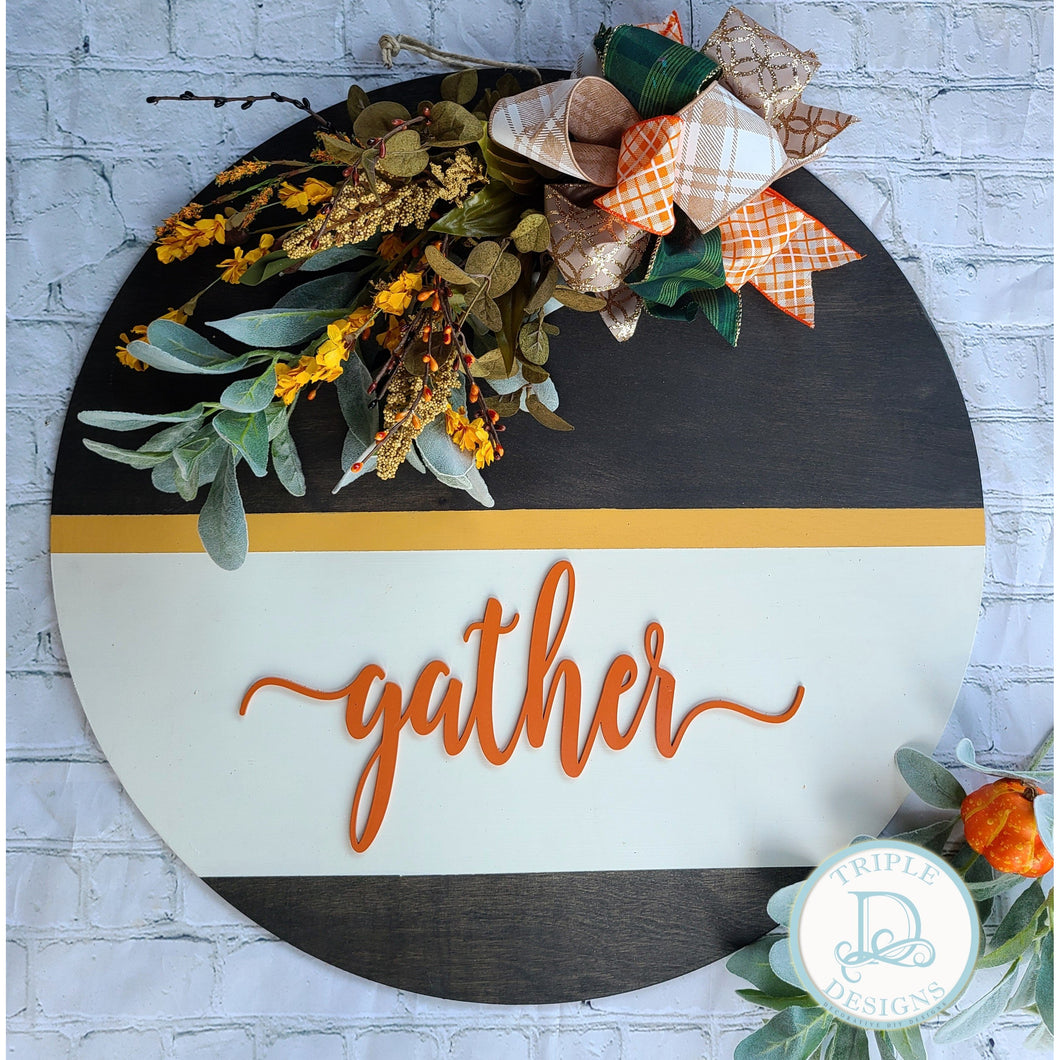 Gather Fall Stained & Painted Wood Round with Florals
