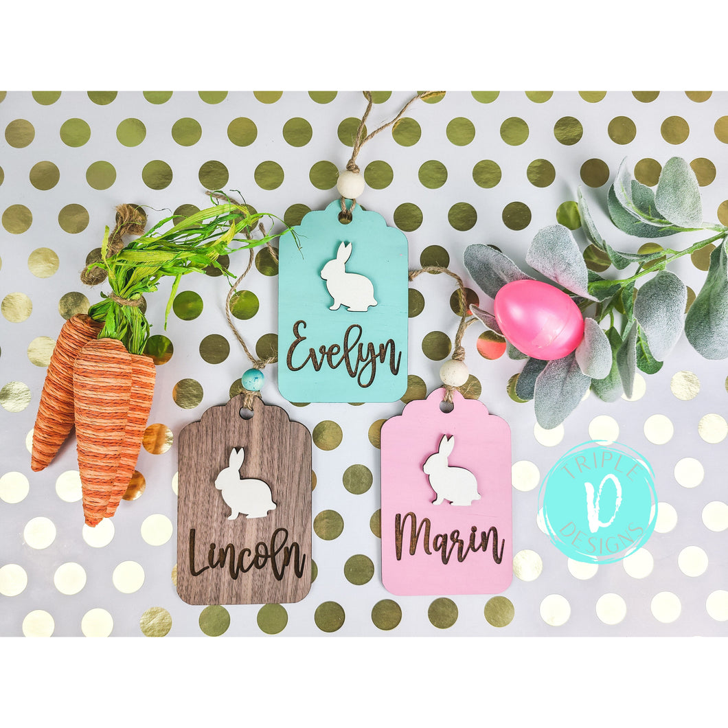 Easter Basket Tags with 3D Bunny