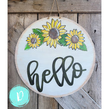 Load image into Gallery viewer, 3D Sunflower - Round - hello - distressed