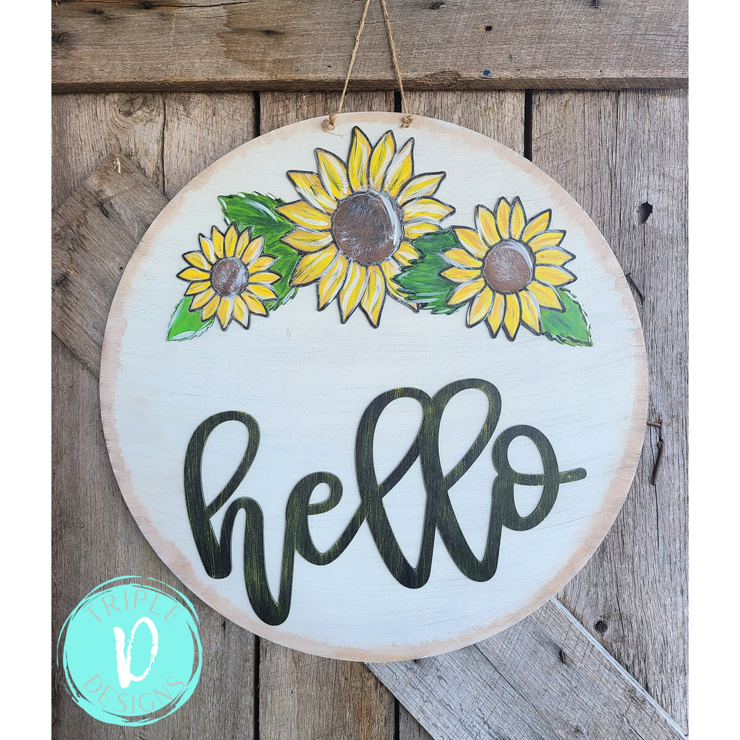 3D Sunflower - Round - hello - distressed