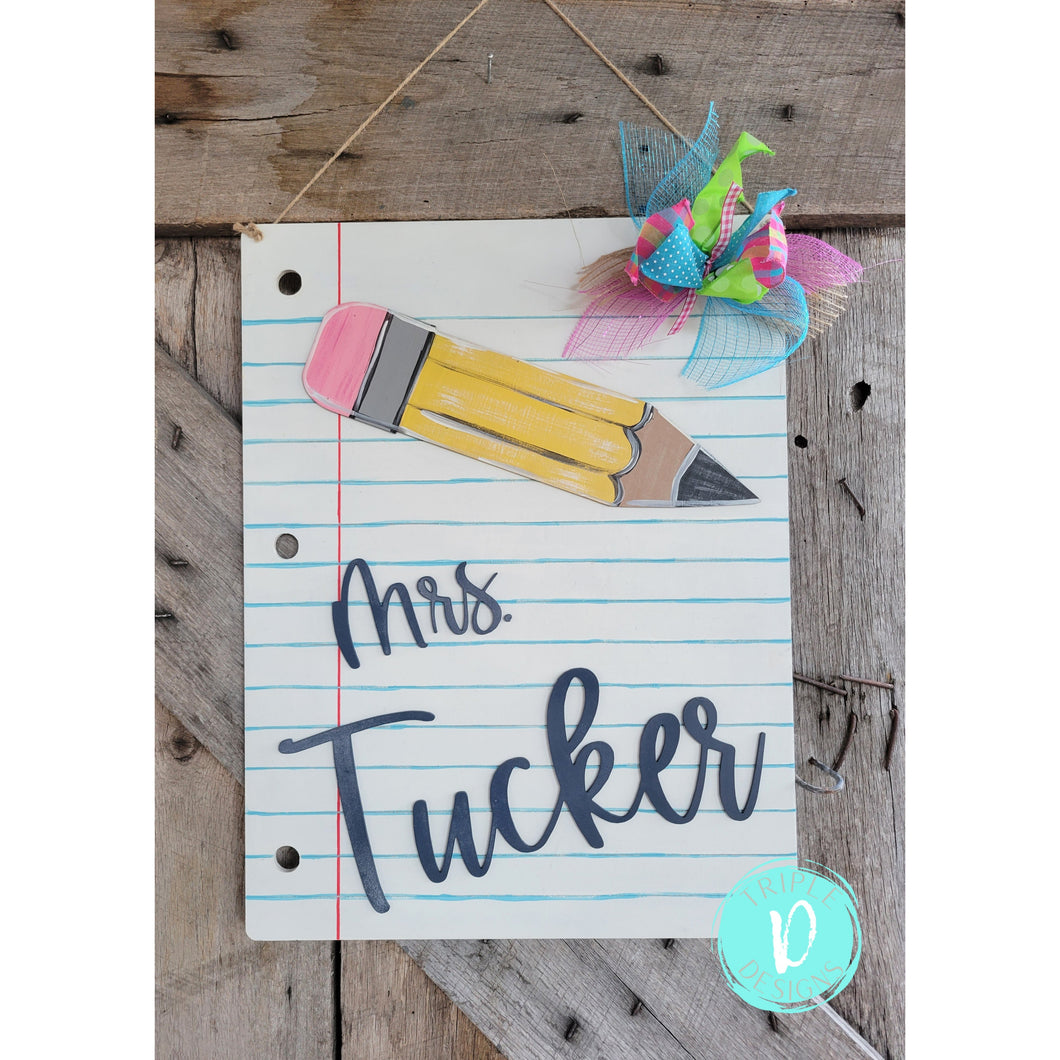 Notebook paper-teacher- gift- classroom-pencil-personalized