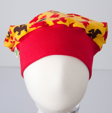 Beanie: Dinos on Yellow with Red Cuff
