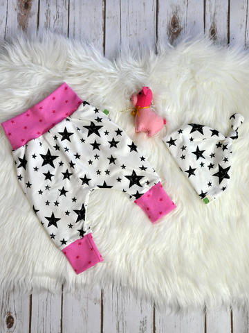 Combo: Black Stars on White with Stars on Pink Cuffs
