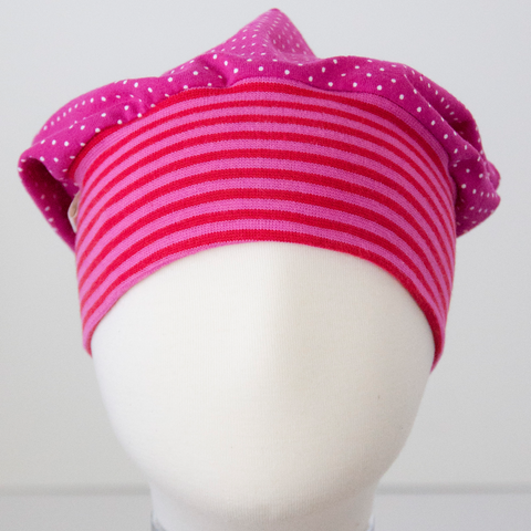 Beanie: Dots on Pink with Red-Pink Striped Cuff