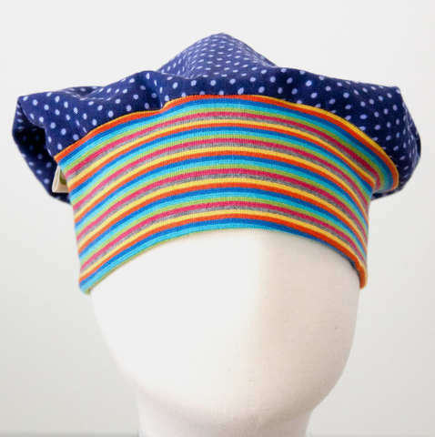 Beanie: Dots on Purple with Rainbow Striped Cuff