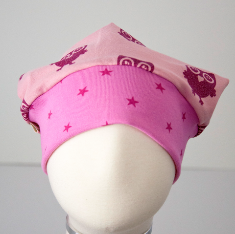 Beanie: Glittler Owls on Pink with Pink Stars Cuff