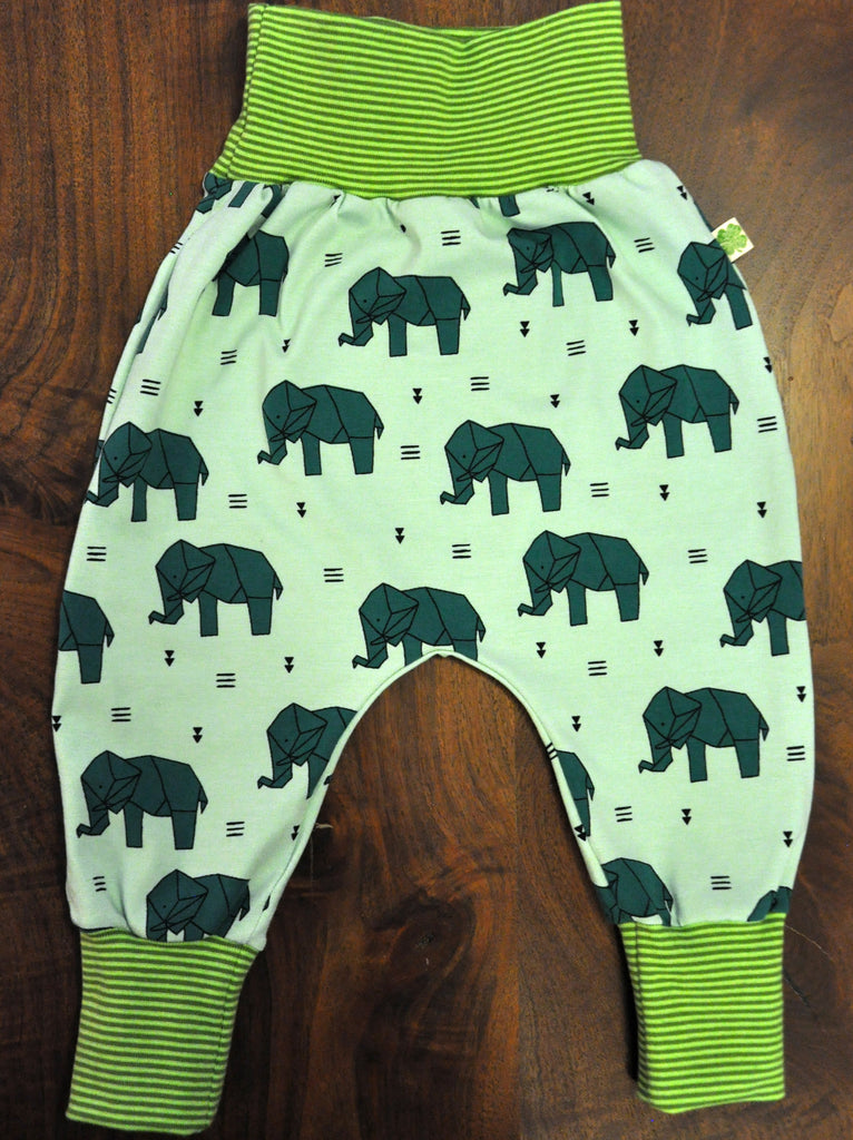 Origami Elephant in Green with Lime and Green striped Cuffs, size 6-12 months