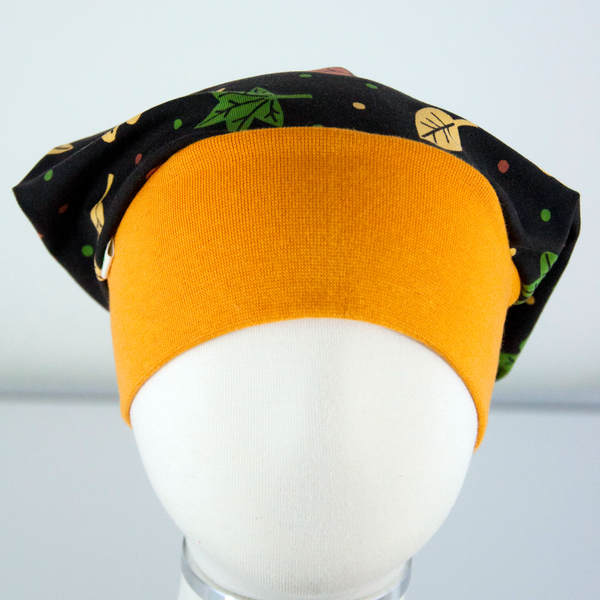 Beanie: Fall Leafs on Brown with Dark Yellow Cuff