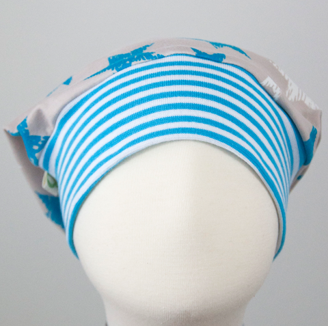 Beanie: Stars Blue&White on Beige with Blue White Striped Cuff