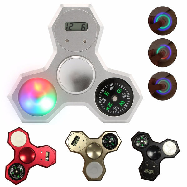 Aluminum LED Compass Fidget Spinner With Digital Watch