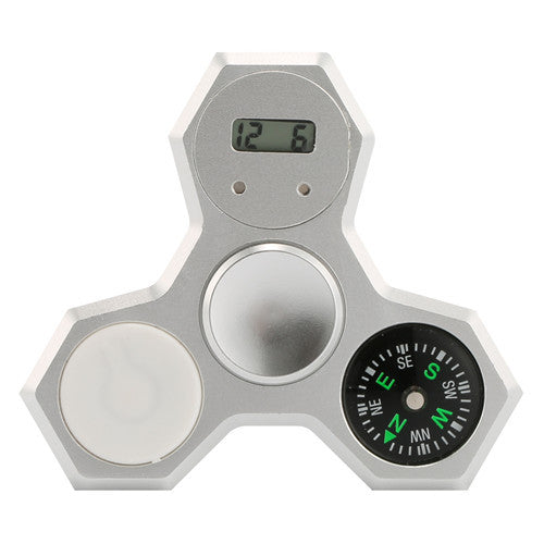 Silver Aluminum LED Compass Fidget Spinner With Digital Watch
