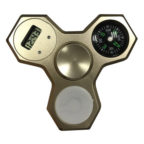 Gold Aluminum LED Compass Fidget Spinner With Digital Watch