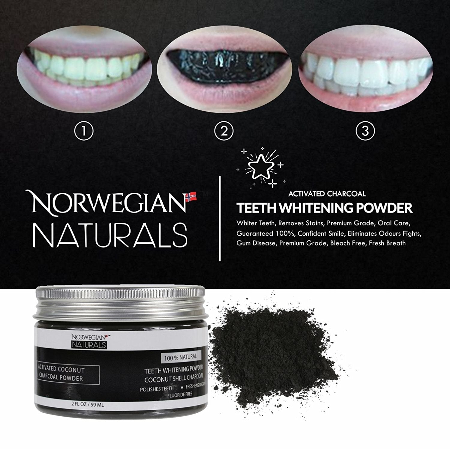 Charcoal Teeth Whitening Powder Whiter Teeth Removes Stains Premium