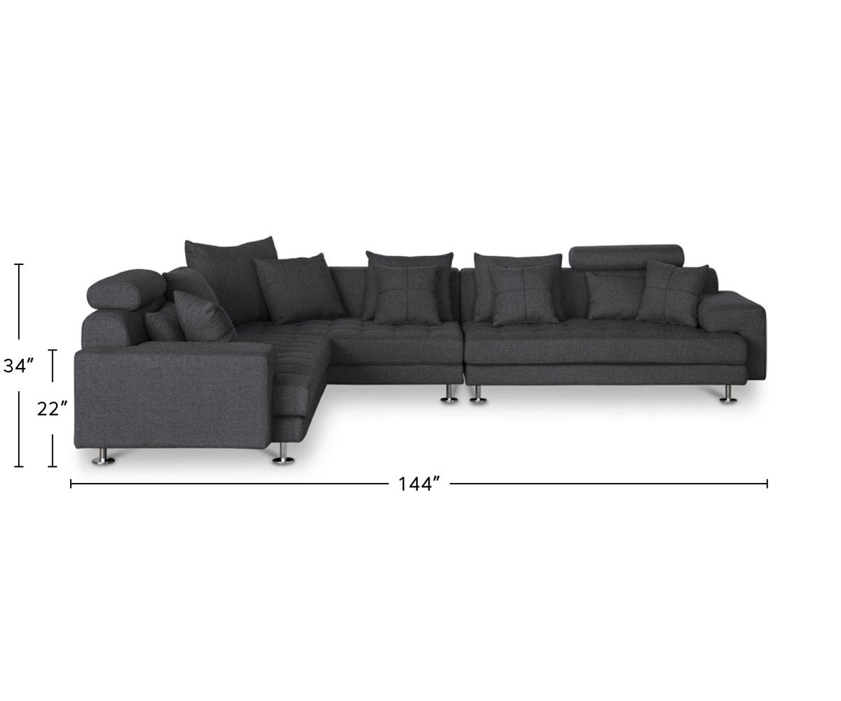 Cepella Right Seated Sectional dimensions