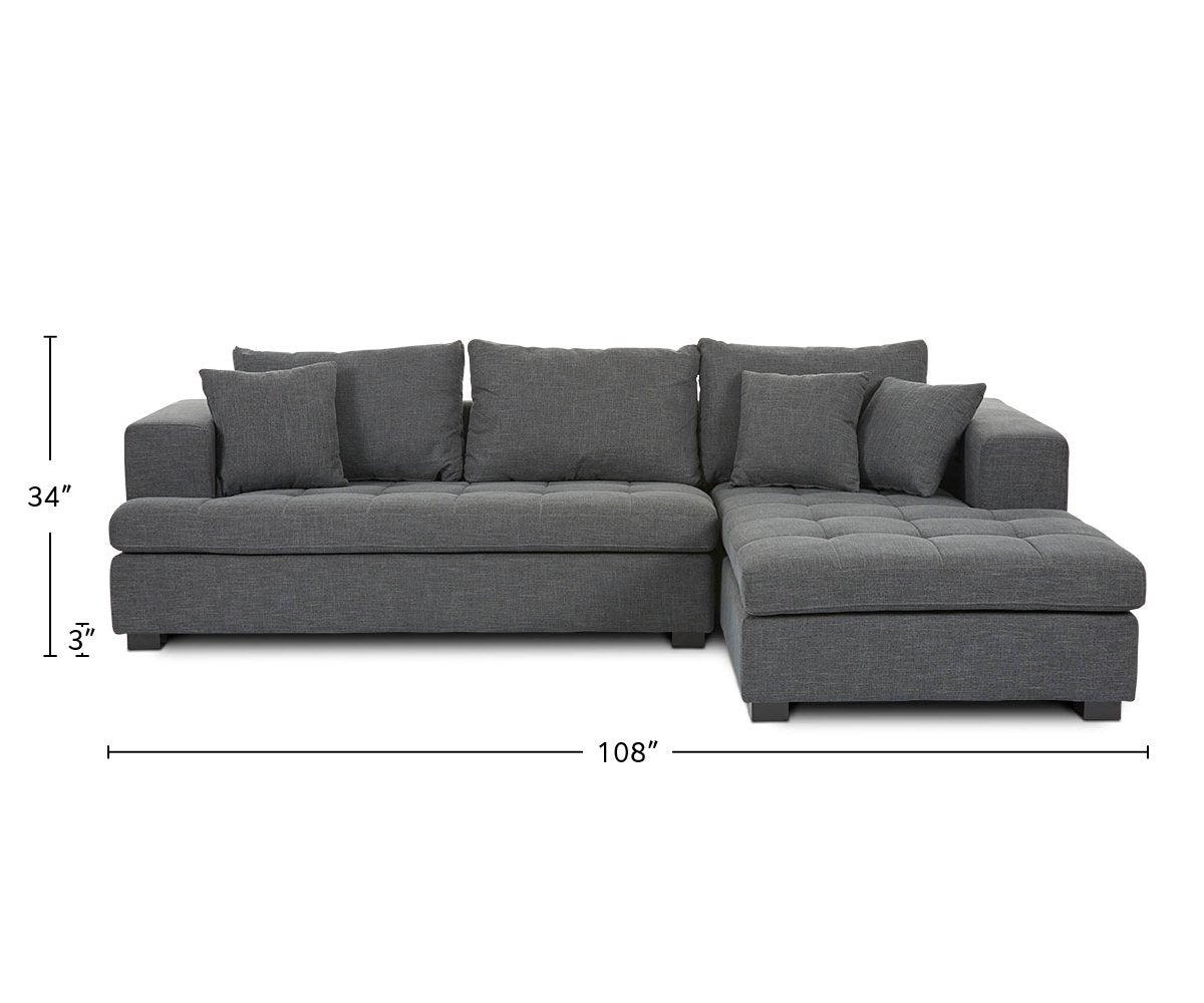 Mirak Left Chaise Seated Sectional dimensions