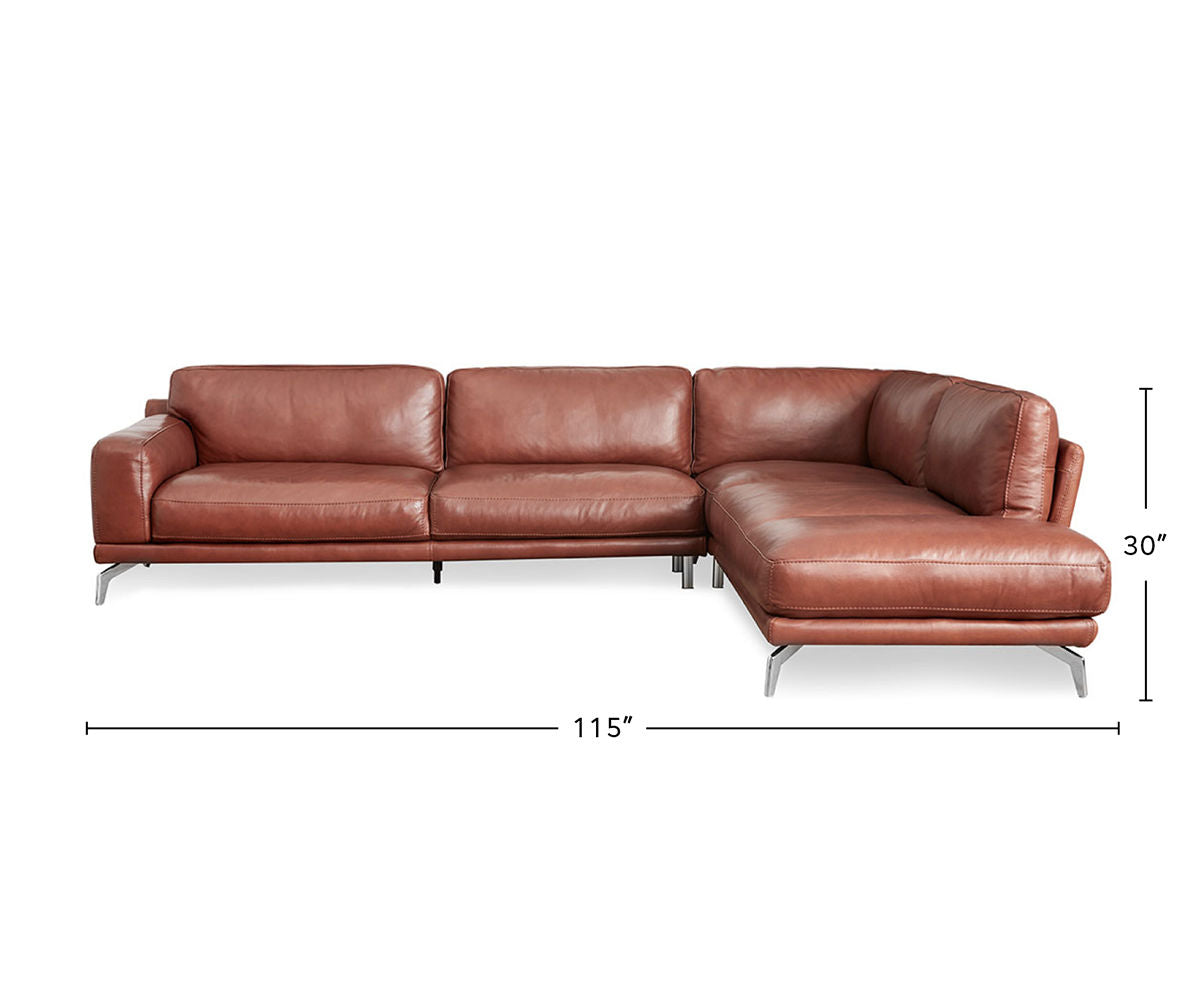 Peruna Leather Right Sectional dimensions