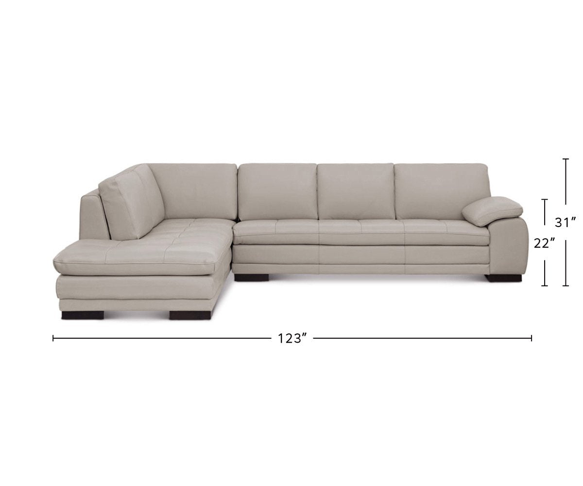 Cercis Leather Left Sectional dimensions