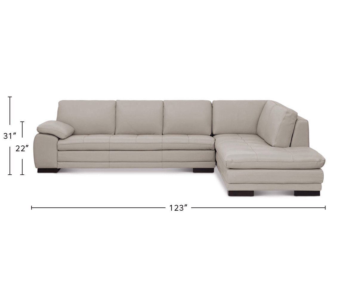 Cercis Leather Right Sectional dimensions