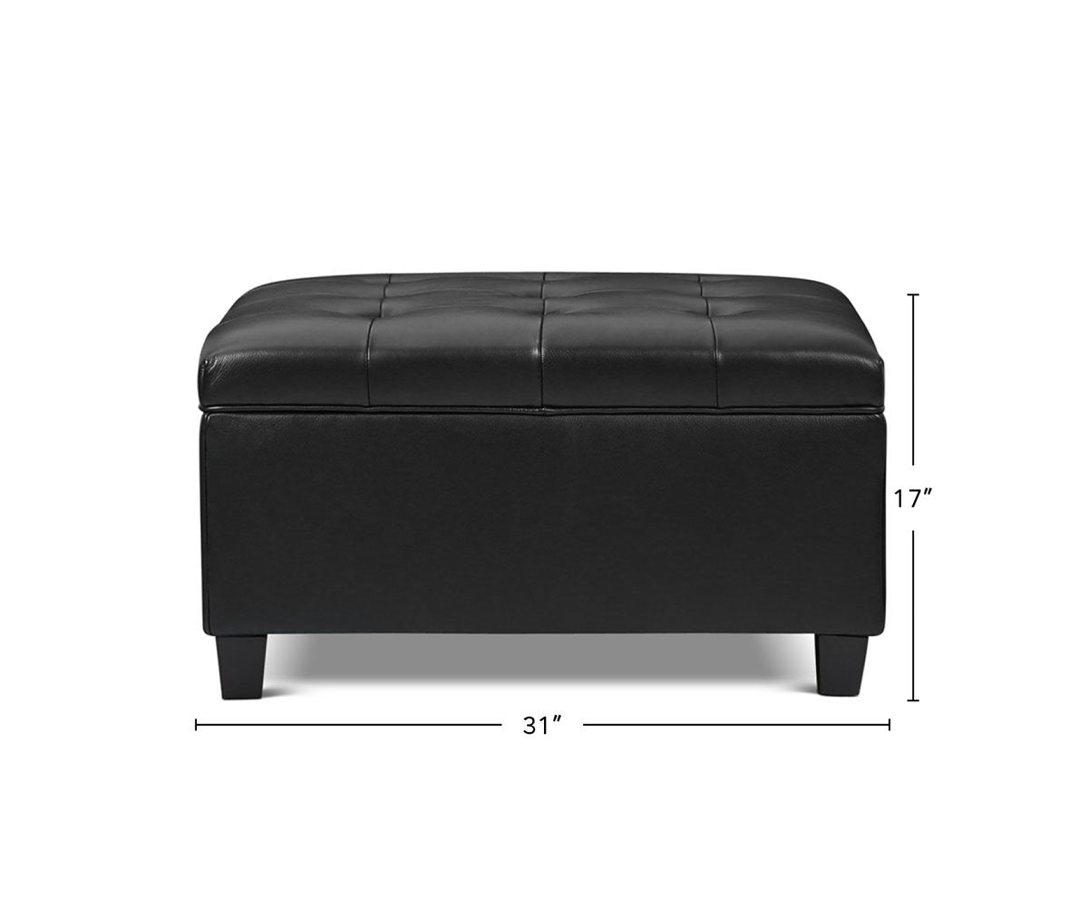 Louise Leather Storage Ottoman dimensions