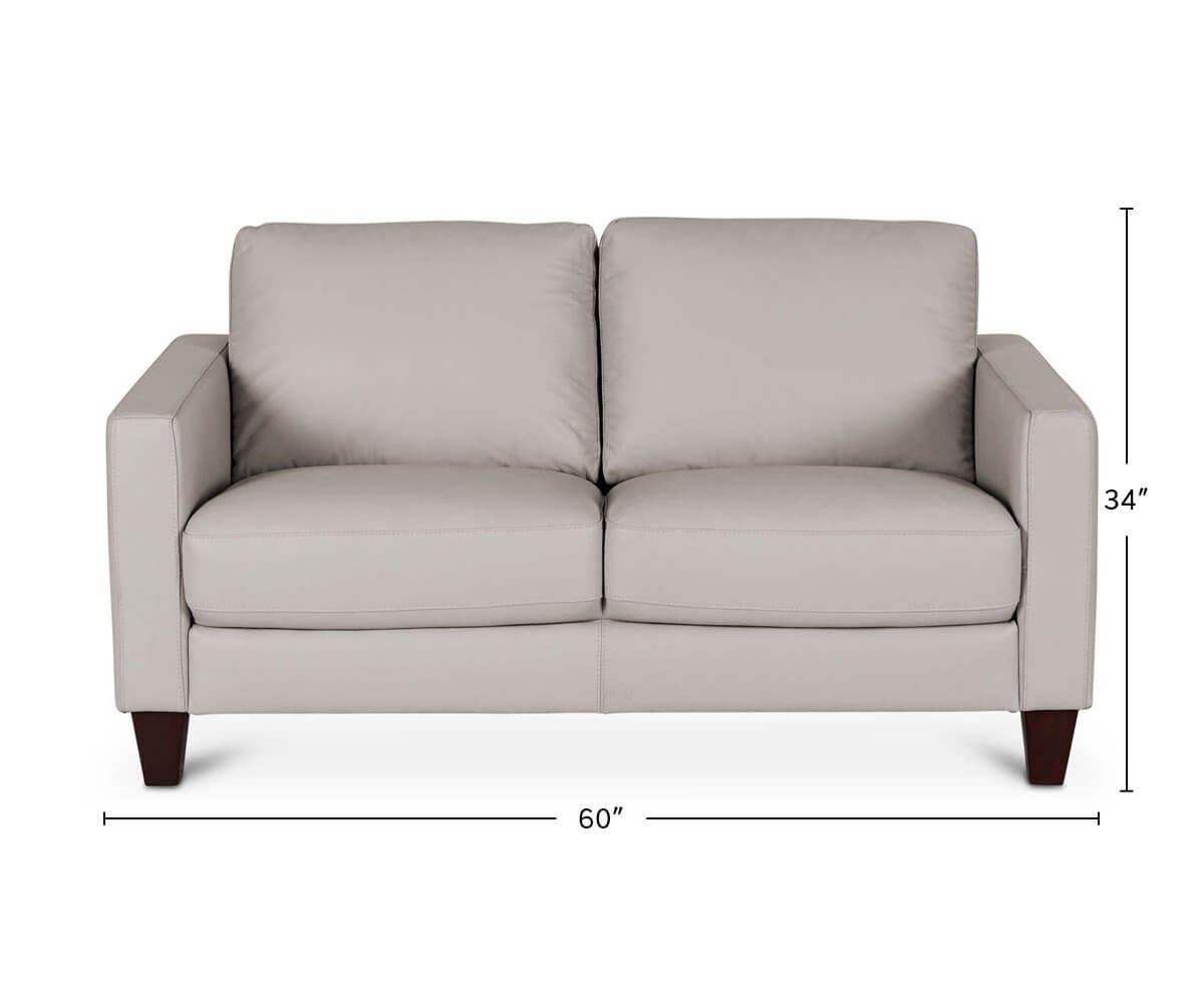 Pavel Leather Loveseat dimensions