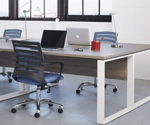 Contemporary workplace setting with modern chairs