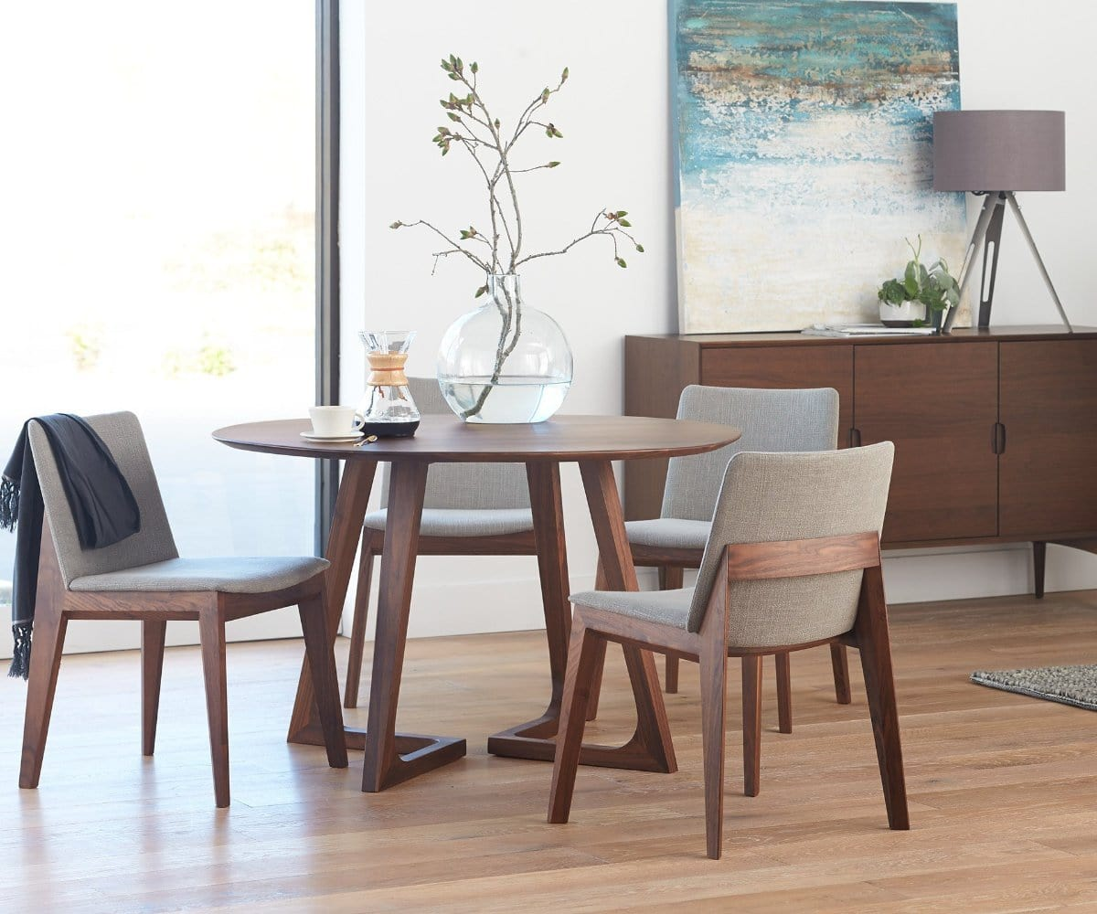 Scandinavian Inspired Dining Room Morbylanga Table Eames Chairs Black Warehous Scandinavian Dining Room Dining Room Furniture Design Dark Wood Dining Table