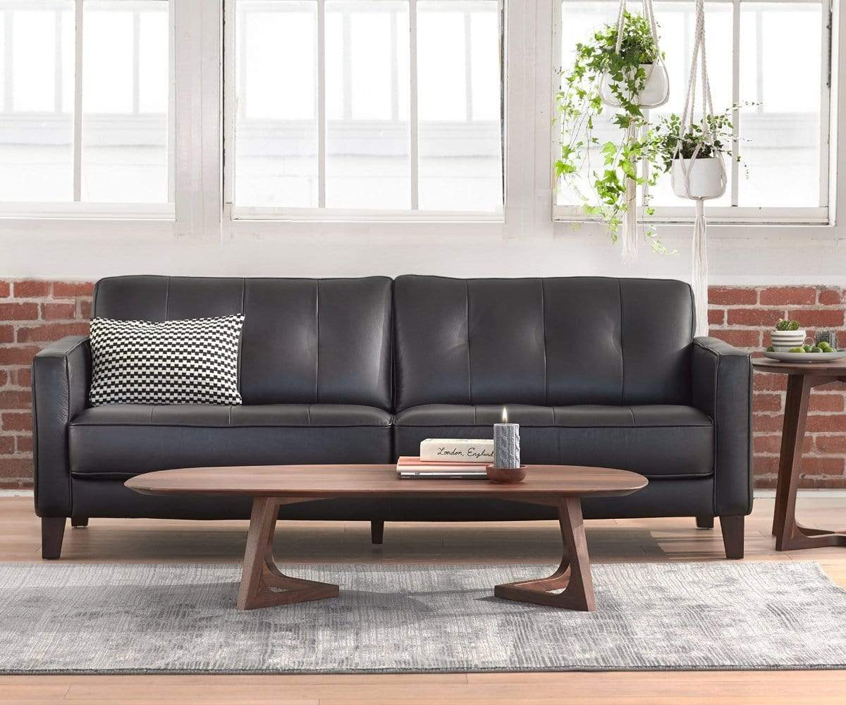 Strange Gregata Leather Sofa Black Dania Furniture Gmtry Best Dining Table And Chair Ideas Images Gmtryco