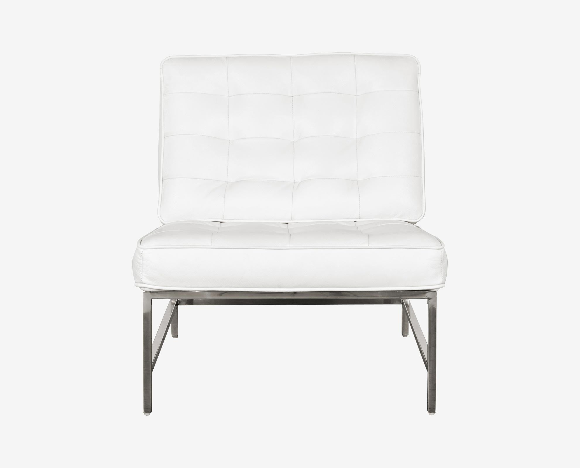 Luxury white modern tufted leather accent chair