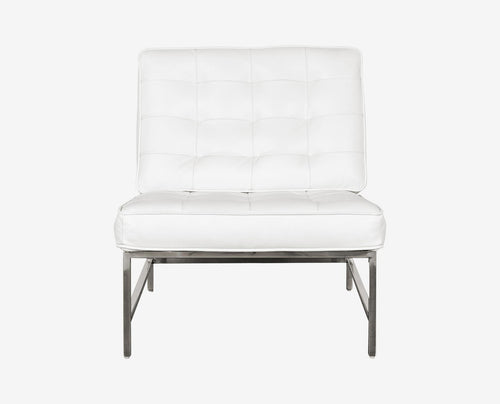 Luxury white modern tufted leather accent chair. Dania Furniture