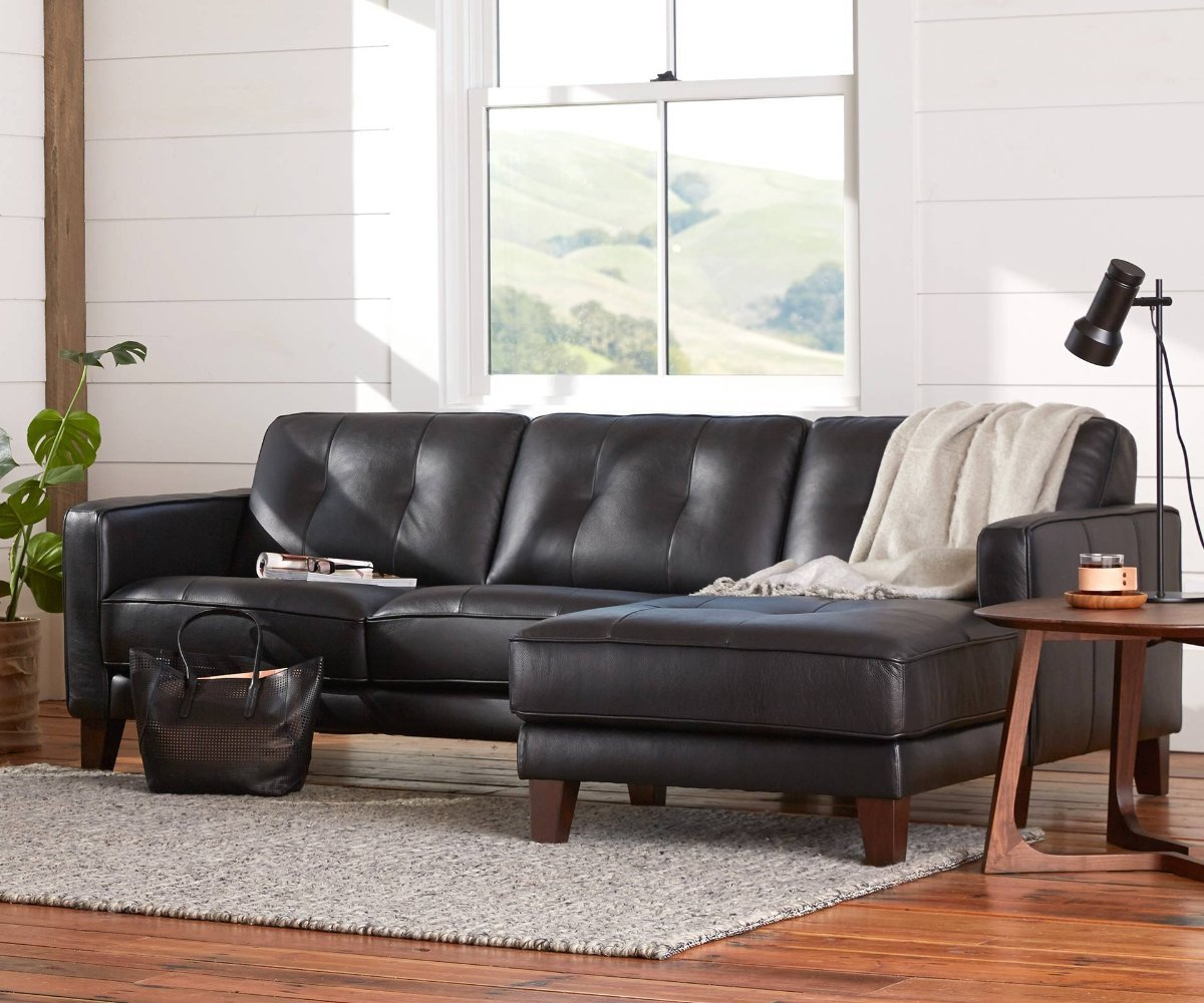 Black Leather Couches Modern Black Leather Sectional Sofa Black