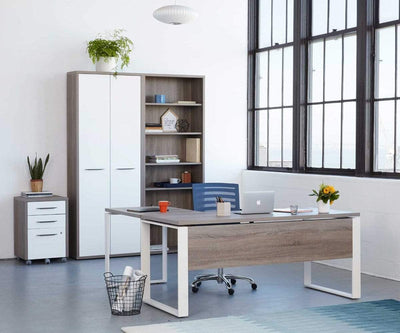 Modern minimalist industrial work space setting