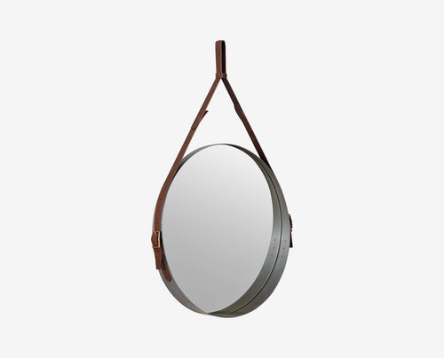 Metal steel and leather classic modern mirror