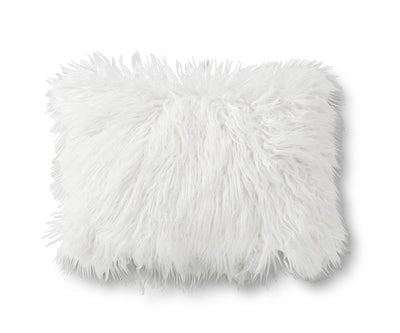 Boras 12 x 18 Mongolian Faux Fur Pillow Cover - White