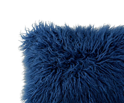 Boras 18 x 18 Mongolian Faux Fur Pillow Cover - Blue