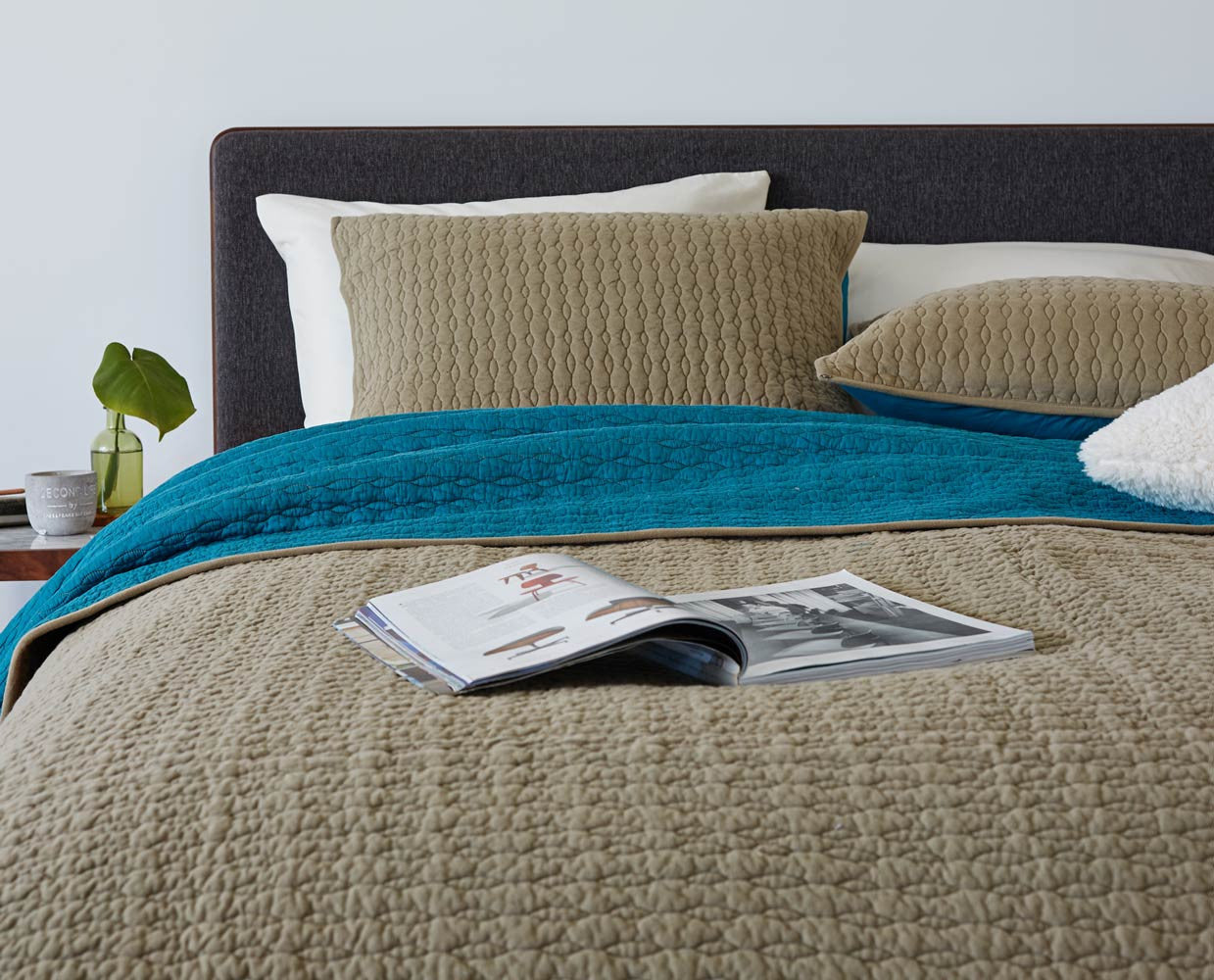 quilt teal linen bedding duvet solo bed and cover cream printed product set