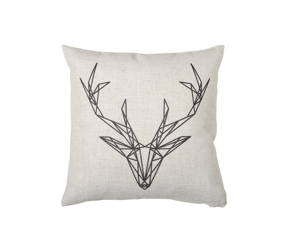 Black and White Deer Pillow Cover