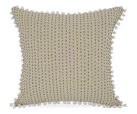Cotton linen whimsical tufted pillow