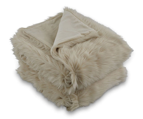 Rorik Faux Fur Throw -Beige