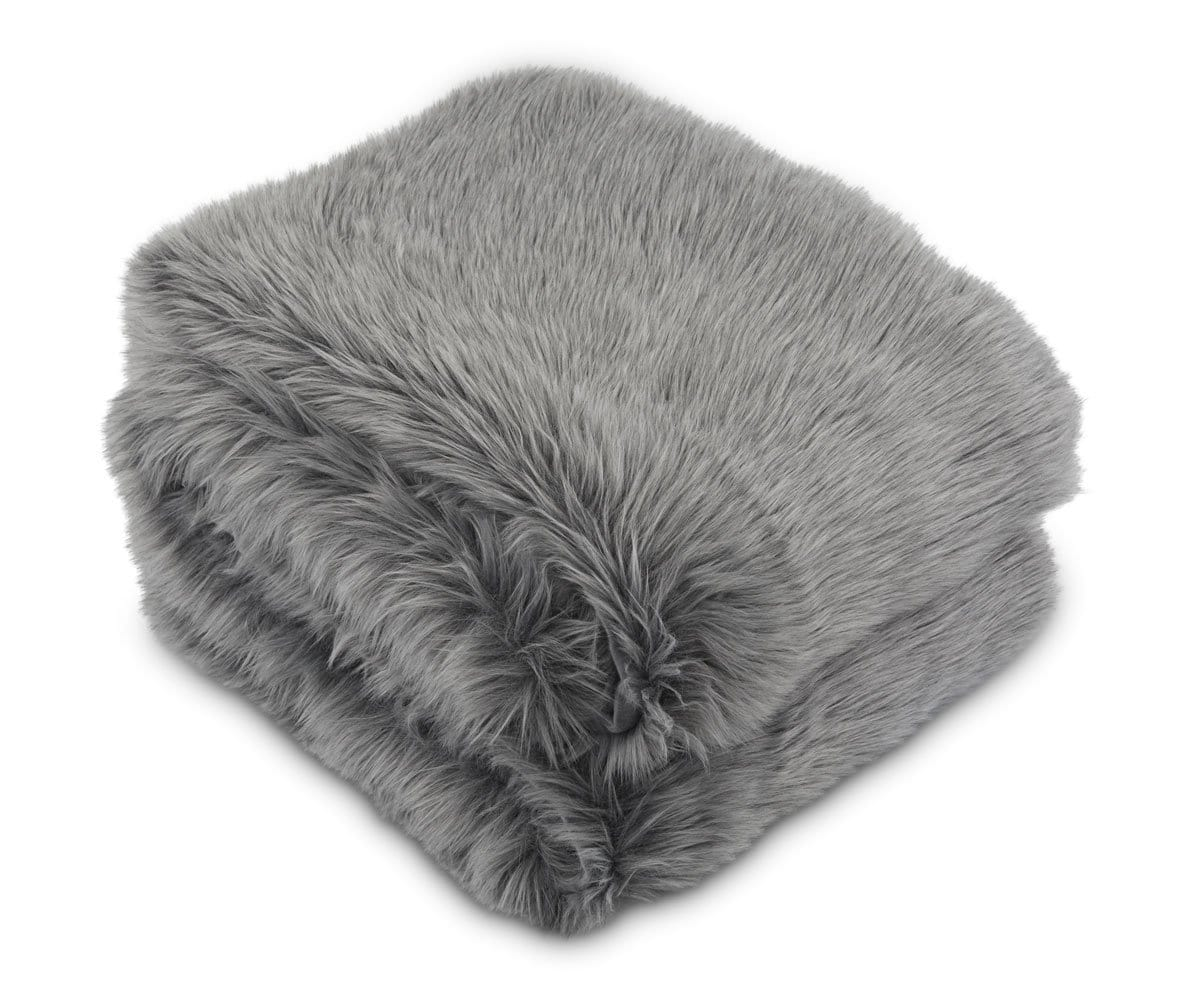 Rorik Faux Fur Throw - Grey