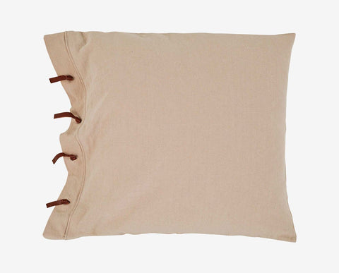 Casual smooth beige leather tie knot pillow