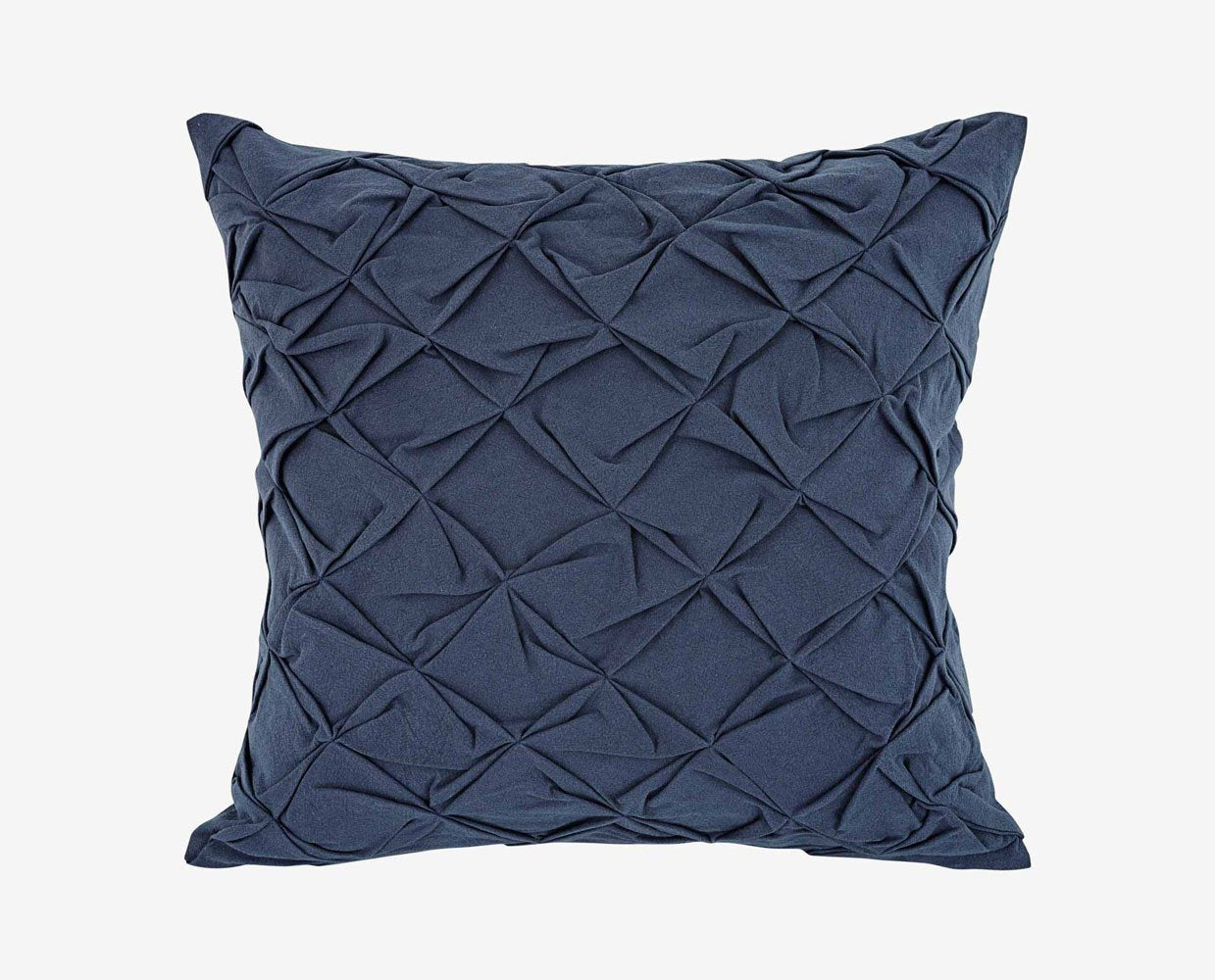 Modern pintuck fabric wrapped blue pillow