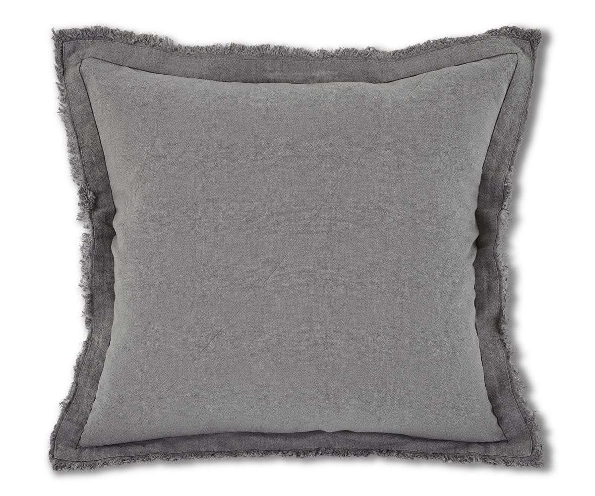 Makron Linen Fringe Pillow Cover - Grey