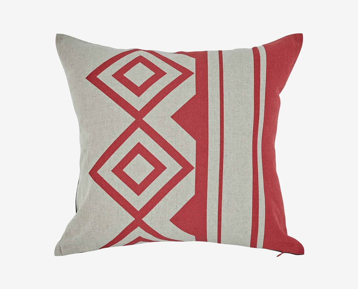 Bold geometric diamond red grey modern pillow