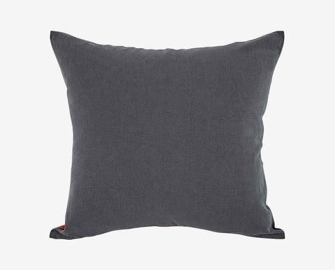 Split side red pattern and grey plush pillow