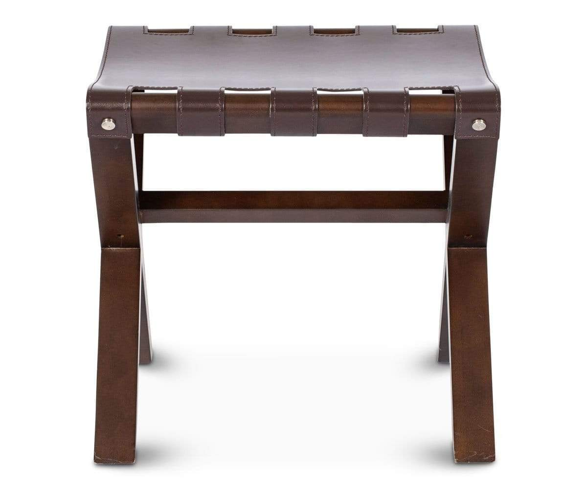 Modern industrial wood leather stool seat