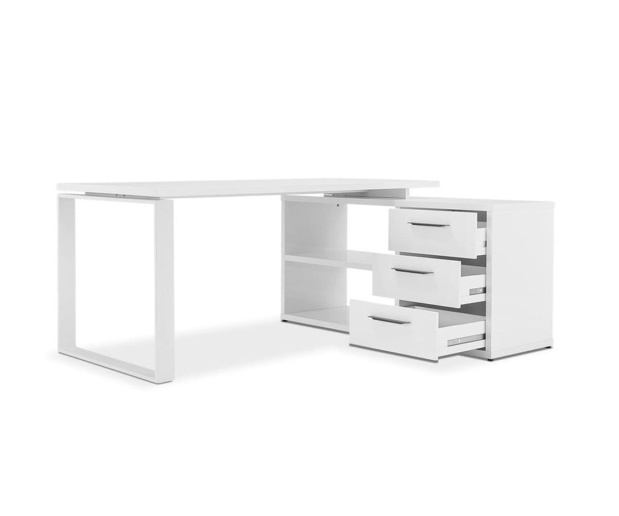 Gammel Desk With Reversible Return - White