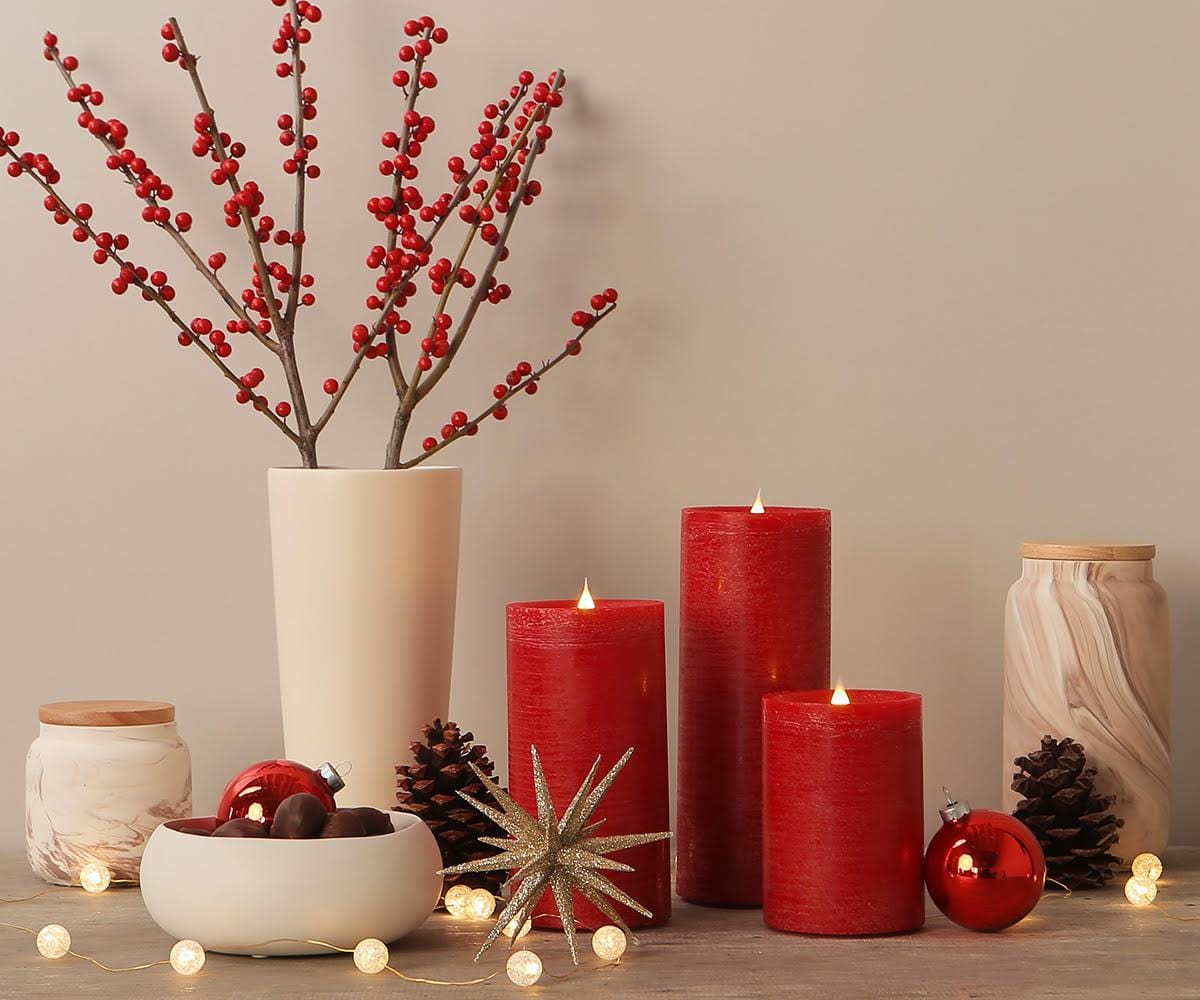 Lys Flameless Candle - Red